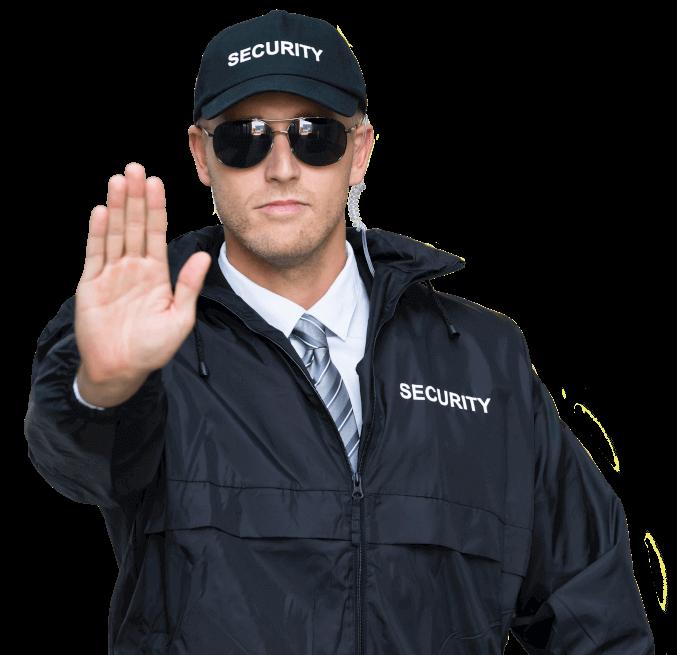 man werkt in de beveiliging en stopt inbreker